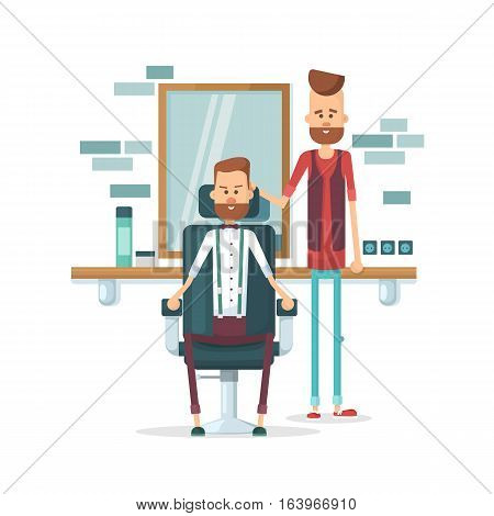 Confident Barber Expert. A Young Bearded Man And A Satisfied Customer. Flat Vector Illustration.