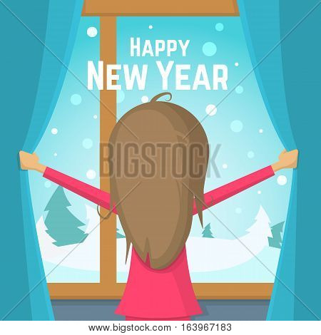 Happy New Year. Little girl in pajamas parted the curtains and stood at the window. Flat Vector illustration.