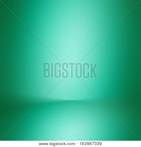 3D illustration / gradient flat wall and floor in empty spacious room / green empty room studio gradient used for background and display your product