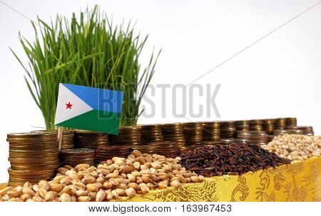 Djibouti Flag Waving With Stack Of Money Coins And Piles Of Wheat And Rice Seeds