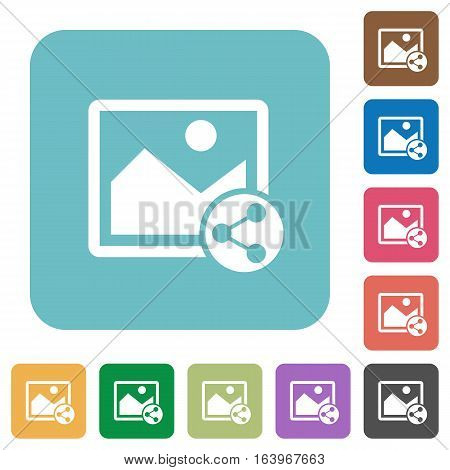 Share image white flat icons on color rounded square backgrounds