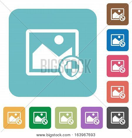 Protect image white flat icons on color rounded square backgrounds