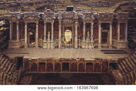 Ancient ruins of Hierapolis amphitheater Pamukkale Turkey