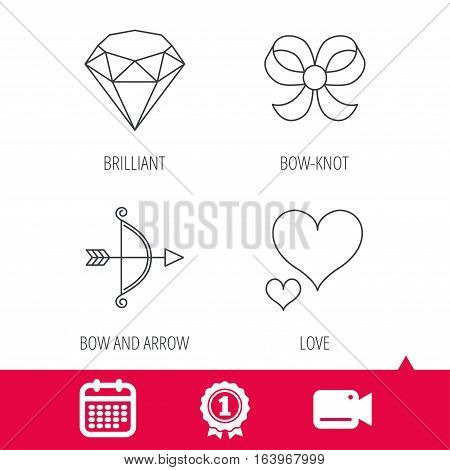 Achievement and video cam signs. Love heart, brilliant and bow-knot icons. Bow and arrow linear signs. Calendar icon. Vector
