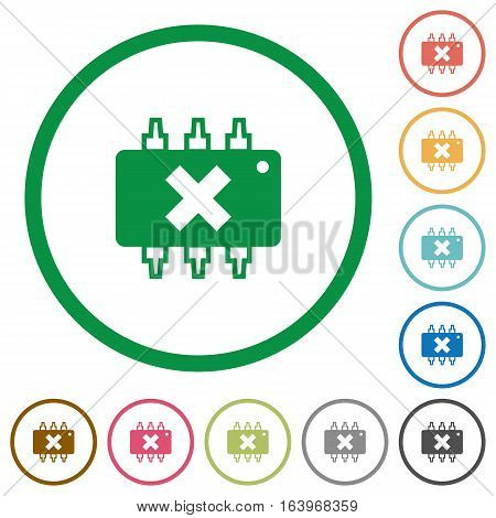 Hardware failure flat color icons in round outlines on white background