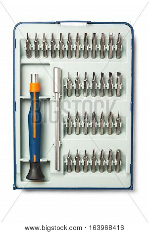 Precision screwdriver set with various bits and bit extension