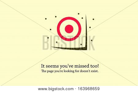 Error 404 page. Bullet holes around the target. Error page design template.