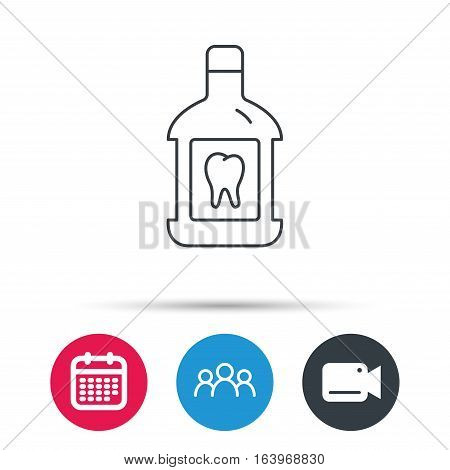 Mouthwash icon. Oral antibacterial liquid sign. Group of people, video cam and calendar icons. Vector