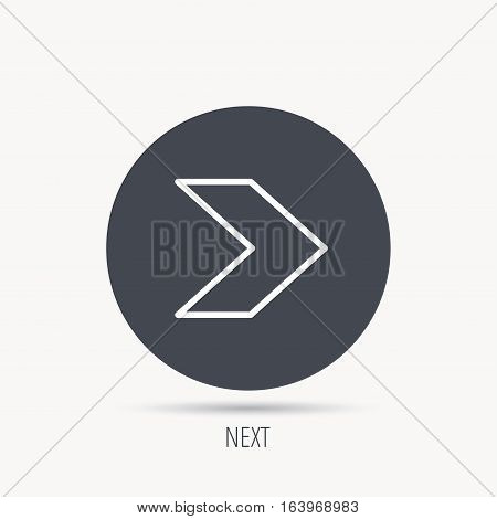 Next arrow icon. Forward sign. Right direction symbol. Round web button with flat icon. Vector