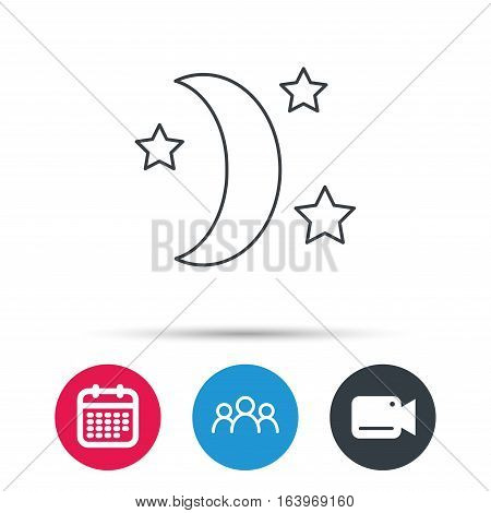 Night or sleep icon. Moon and stars sign. Crescent astronomy symbol. Group of people, video cam and calendar icons. Vector