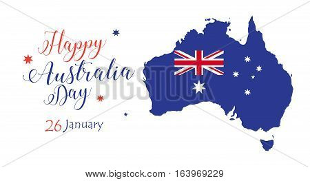 Australia day inscription poster with Australia map, flag, stars on white background. Greeting card design. Vector illustration.