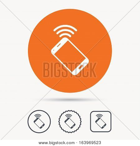 Cellphone icon. Mobile phone communication symbol. Orange circle button with web icon. Star and square design. Vector