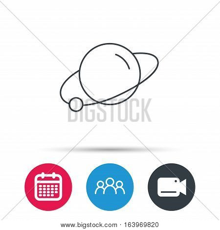 Planet icon. World globe sign. Astronomy symbol. Group of people, video cam and calendar icons. Vector