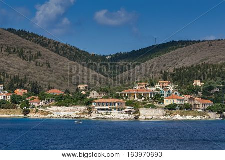 FISKARDO, KEFALONIA, GREECE - MAY 25  2015:  Amazing Panorama of town of Fiskardo, Kefalonia, Ionian islands, Greece