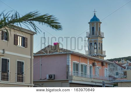 Argostoli, Kefalonia, Greece - May 25  2015:  Bell tower of church in the town of Argostoli, Kefalonia, Ionian islands, Greece