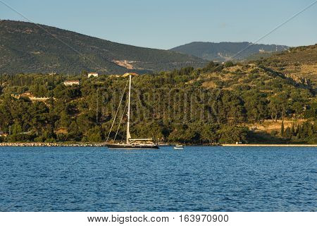 Argostoli, Kefalonia, Greece - May 25  2015:  Sunset view to Kefalonia mountain from town of Argostoli,  Ionian islands, Greece
