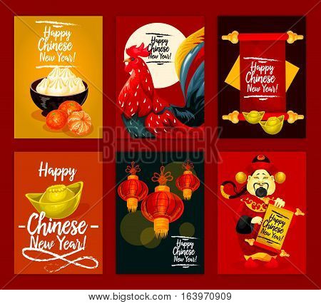 Chinese Lunar New Year, Spring Festival poster set. Rooster zodiac symbol, red paper lantern, god of prosperity, mandarin fruit, gold ingot, parchment scroll with wishes and traditional chinese food