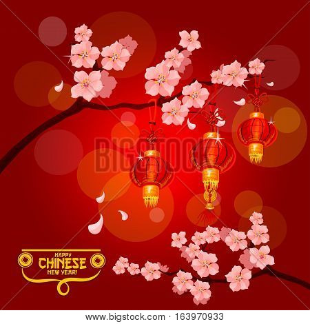 Chinese New Year poster with red paper lanterns hanging on branches of blooming plum tree with pink flowers. Plum blossom with lanterns for Chinese New Year and Spring Festival themes design