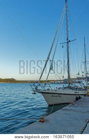 Argostoli, Kefalonia, Greece - May 25  2015:  Yacht on port of  town of Argostoli, Kefalonia, Ionian islands, Greece