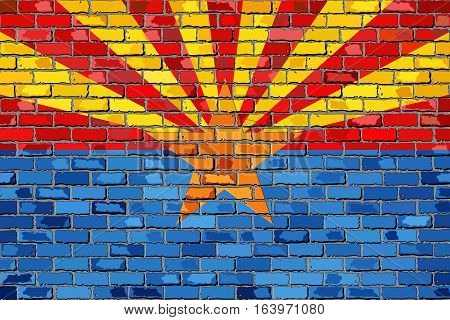 Flag of Arizona on a brick wall with effect - 3D Illustration,  The flag of the state of Arizona on brick textured background,  Arizona Flag in brick style