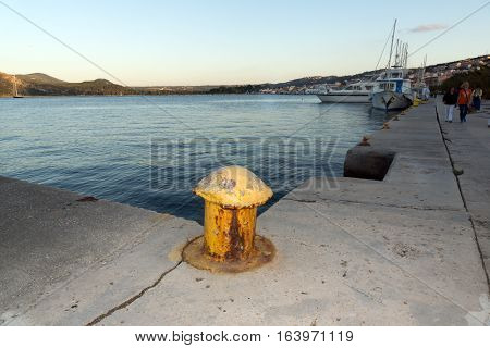 Argostoli, Kefalonia, Greece - May 25  2015:  Sunset view of Embankment and port of Argostoli, Kefalonia, Ionian islands, Greece