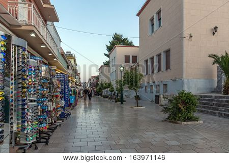 Argostoli, Kefalonia, Greece - May 25  2015:  Sunset view of main Street in town of Argostoli, Kefalonia, Ionian islands, Greece