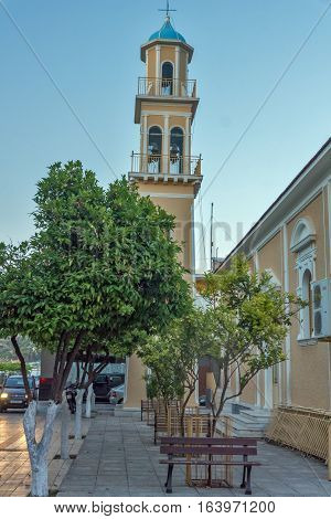 Argostoli, Kefalonia, Greece - May 25  2015:  Sunset view of Bell tower of church in the town of Argostoli, Kefalonia, Ionian islands, Greece