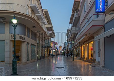 Argostoli, Kefalonia, Greece - May 26  2015:  Sunset panorama of main Street in town of Argostoli, Kefalonia, Ionian islands, Greece