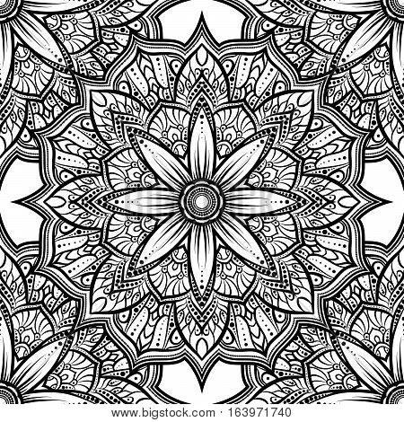 Vector Seamless Pattern Mandala Flower On A White Background. Monochrome Black And White . Doodle La