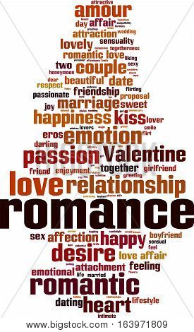 Romance word cloud concept. Vector illustration on white