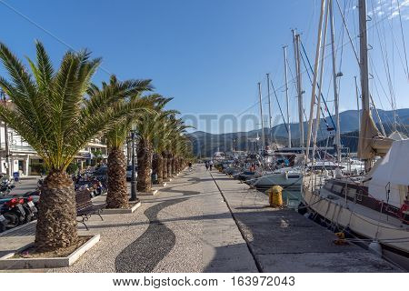 Argostoli, Kefalonia, Greece - May 26 2015:  Panorama of Embankment of town of Argostoli, Kefalonia, Ionian islands, Greece