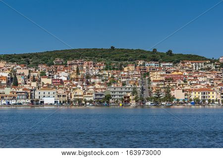 Argostoli, Kefalonia, Greece - May 26 2015:   Panorama of town of Argostoli, Kefalonia, Ionian islands, Greece