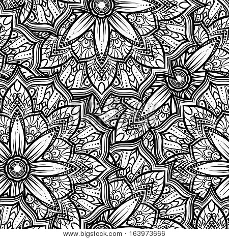 Vector Seamless Pattern Mandala Flower On A White Background. Monochrome Black And . Doodle Lace . I