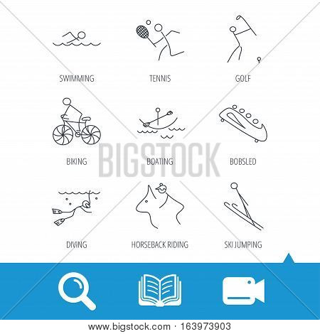 Swimming, tennis and golf icons. Biking, diving and horseback riding linear signs. Ski jumping, boating and bobsleigh icons. Video cam, book and magnifier search icons. Vector