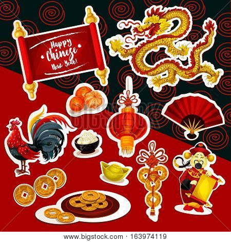 Chinese New Year symbol sticker set. Red lantern, Chinese New Year rooster, lucky coin, dragon, mandarin fruit, god of prosperity with paper scroll, folding fan, dumpling and ancient gold ingot