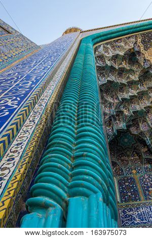 Main entrance to Shah Mosque also called Imam mosque in Isfahan city Iran
