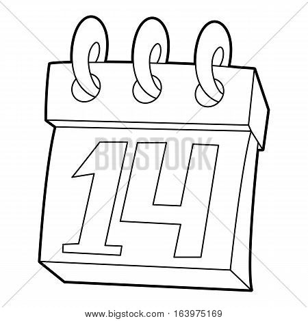 Calendar February 14 icon. Outline illustration of calendar February 14 vector icon for web