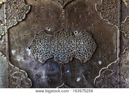 Gate details in Shah Mosque also called Imam mosque in Isfahan city Iran