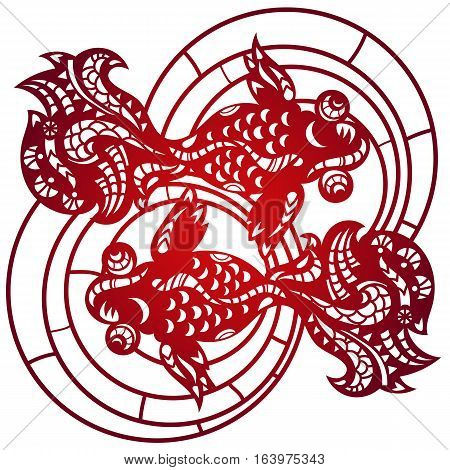Laser cut lace china golden fish pattern for decorative panel. Vector template ready for printing, postcards packets, invitation, engraving, in paper, wood or metal.