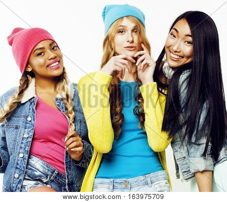 diverse nation girls group, teenage friends company cheerful having fun, happy smiling, cute posing isolated on white background, lifestyle people concept close up