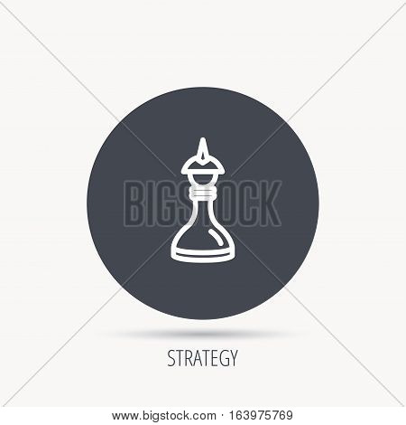 Strategy icon. Chess queen or king sign. Mind game symbol. Round web button with flat icon. Vector