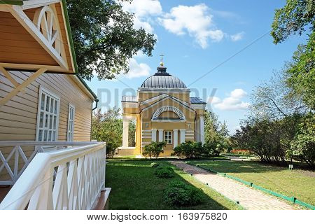 TARKHANI RUSSIA - AUGUST 28 2016: Manor house and the house church of St. Mary of Egypt in the estate Lermontov Tarkhany