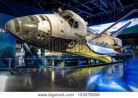 KENNEDY SPACE CENTER, FLORIDA, USA - JAN 03, 2017: Space Shuttle Atlantis which is exhibited at the visitor complex of Kennedy Space Center, United States