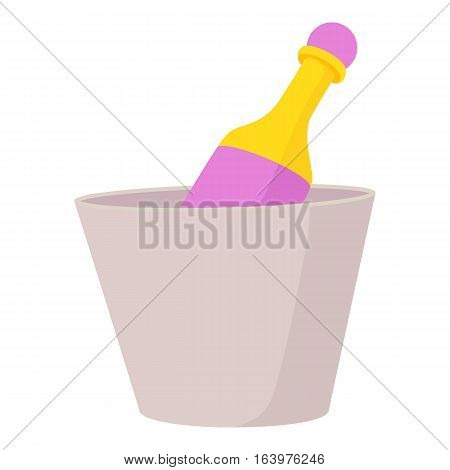 Champagne in bucket icon. Cartoon illustration of champagne in bucket vector icon for web