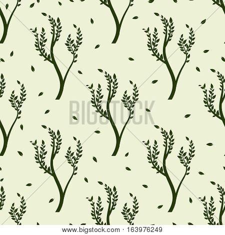 Green tree and falling leaves seamles pattern. Vector illustration