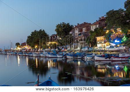 Sozopol, Bulgaria - July 11, 2016: Sunset at the port of Sozopol, Burgas Region, Bulgaria