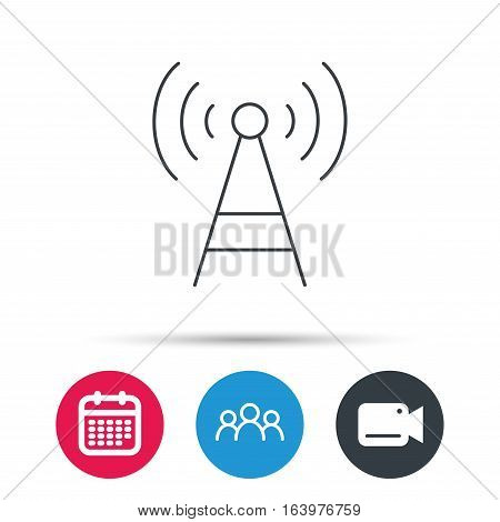 Telecommunication tower icon. Signal sign. Wireless wifi network symbol. Group of people, video cam and calendar icons. Vector