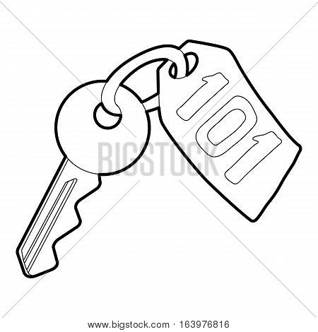 Room key at hotel icon. Outline illustration of room key at hotel vector icon for web