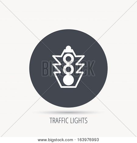 Traffic light icon. Safety direction regulate sign. Round web button with flat icon. Vector