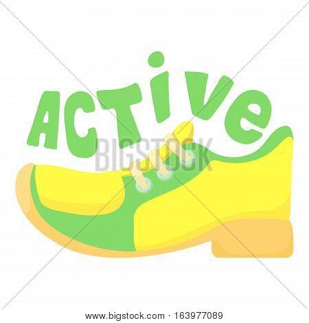Active walking icon. Cartoon illustration of active walking vector icon for web